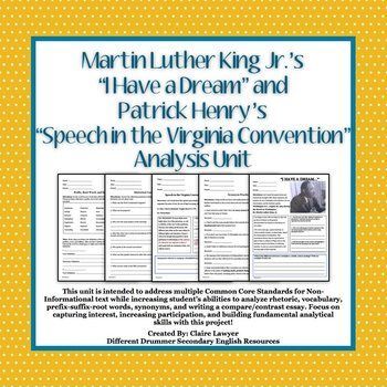 I Have A Dream And Speech In The Virginia Convention Analysi Unit Teaching Inspiration Ap Language Rhetoric Essay