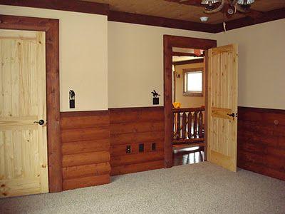 Rustic Bedroom Use Half Wall Of Log Siding Half Dry