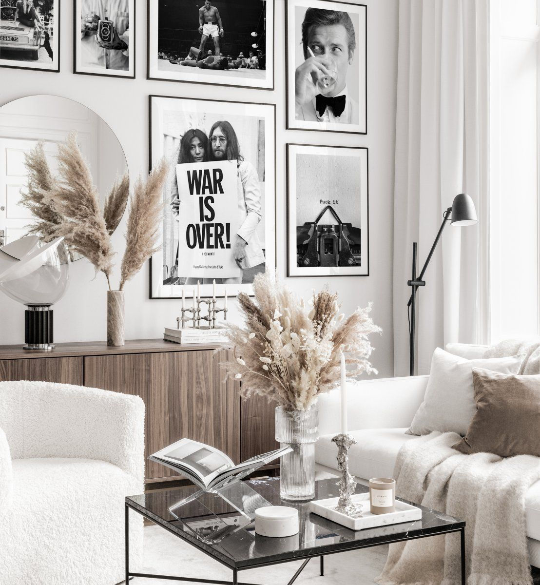 Black White Gallery Wall Iconic Vintage Posters Black Metal Frames Gallery Wall Inspirat Living Room Pictures Gallery Wall Inspiration Wall Decor Living Room