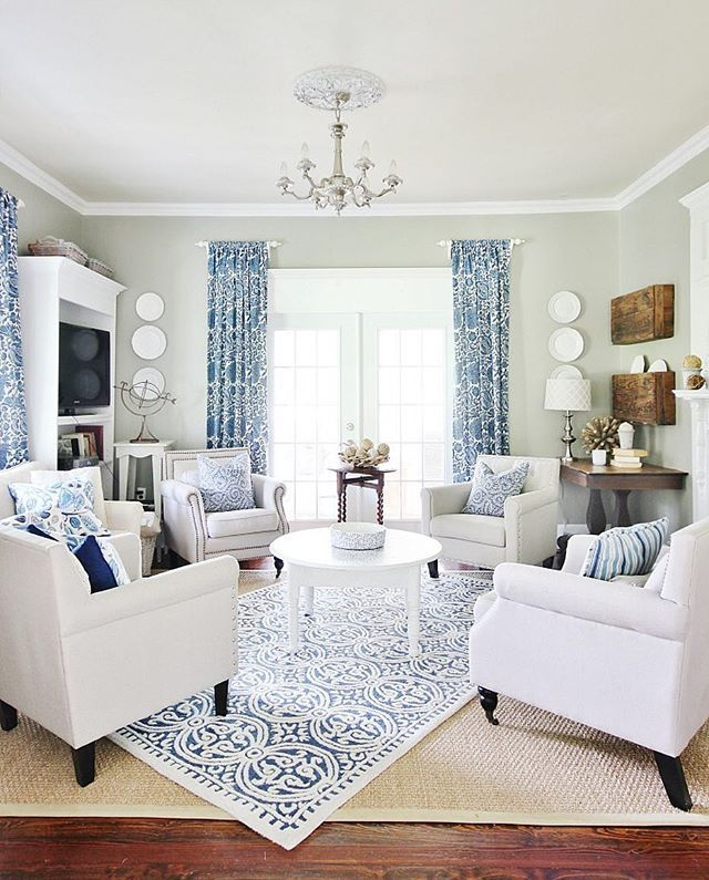 It's blue and white day today! Raise your hand if you agree.  #farmhousestyle #blueandwhite #livingroom #tapforsources http://thistlewoodfarms.com/story-second-verse/