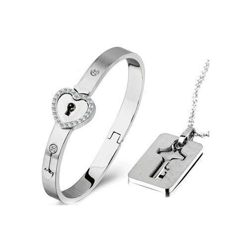 Love Key Lock Matching Bracelet Necklace Set for Couples ...