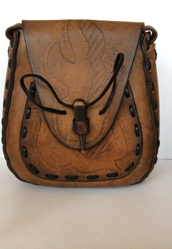 693b7cad2c Vintage Hand Tooled and Stitched Brown Leather Unusual Purse ...