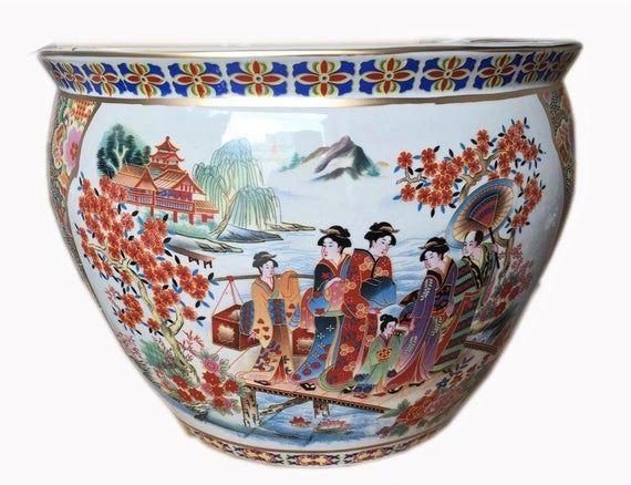 Chinese Porcelain Fishbowl Planters In Satsuma Geishas Porcelain Chinese Ceramics Planters