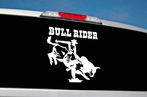 Bull Rider Car Decal / Rodeo Car Vinyl Decal / Car Decal / Window Car Sticker / Stickers / Decals