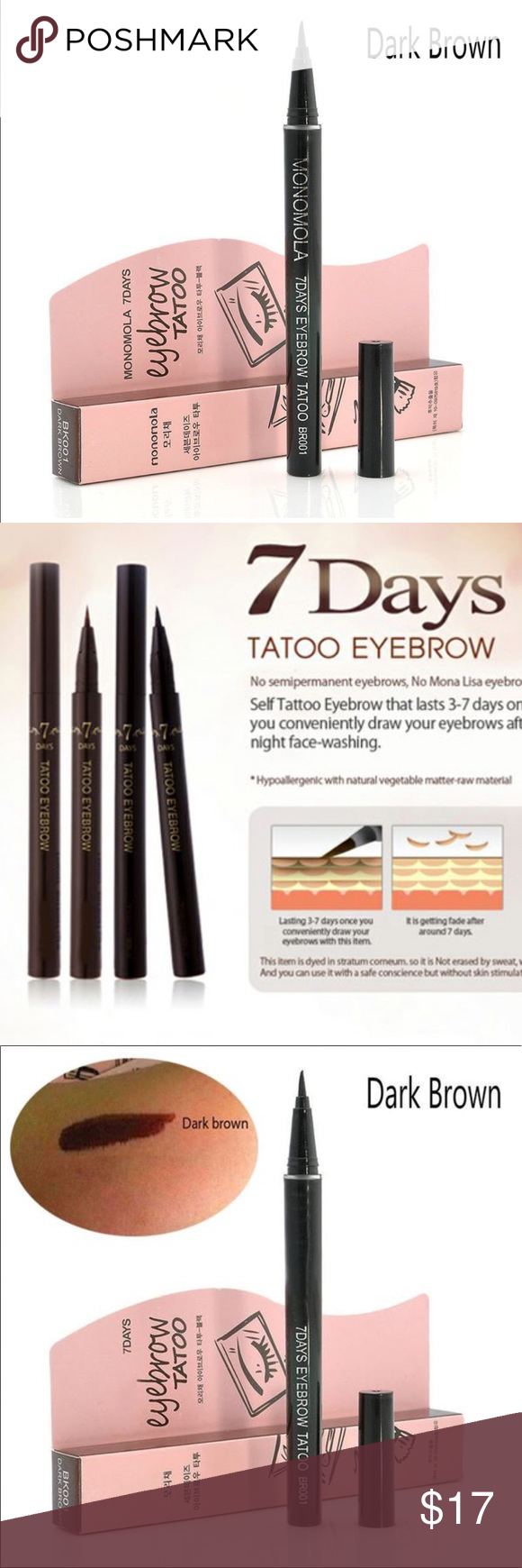 New Waterproof 7 Day Eyebrow Tattoo Pen Liner Yes New Waterproof