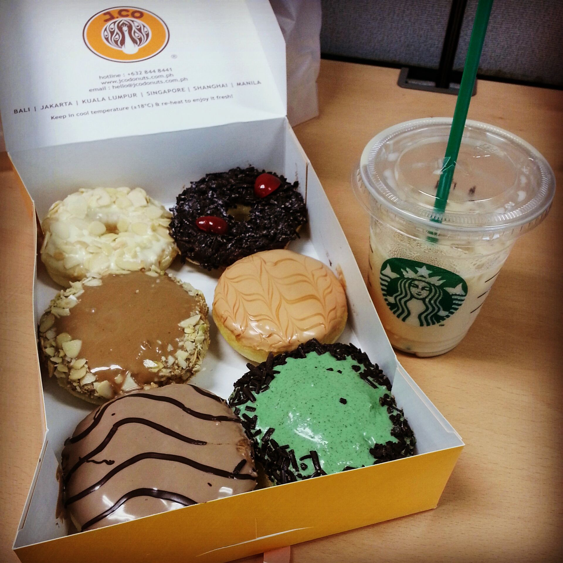 J.Co donuts and Starbucks Iced White Chocolate Mocha <3 | bringin ...