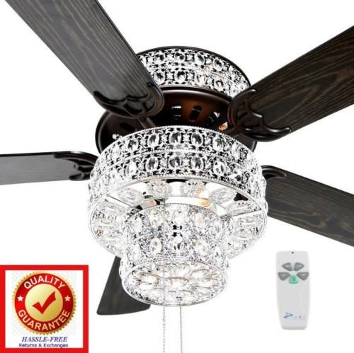 smartness ideas rustic ceiling fans with lights. 52  Punched Metal Crystal 5 Blade Ceiling Fan with Remote 6 Lights