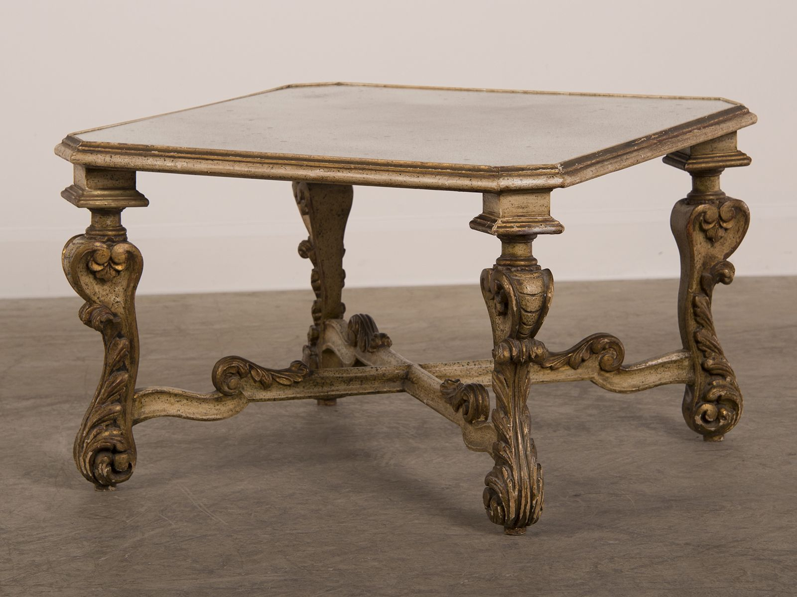 Antique Mirror Coffee Table Fitted With A Piece Of Antiqued
