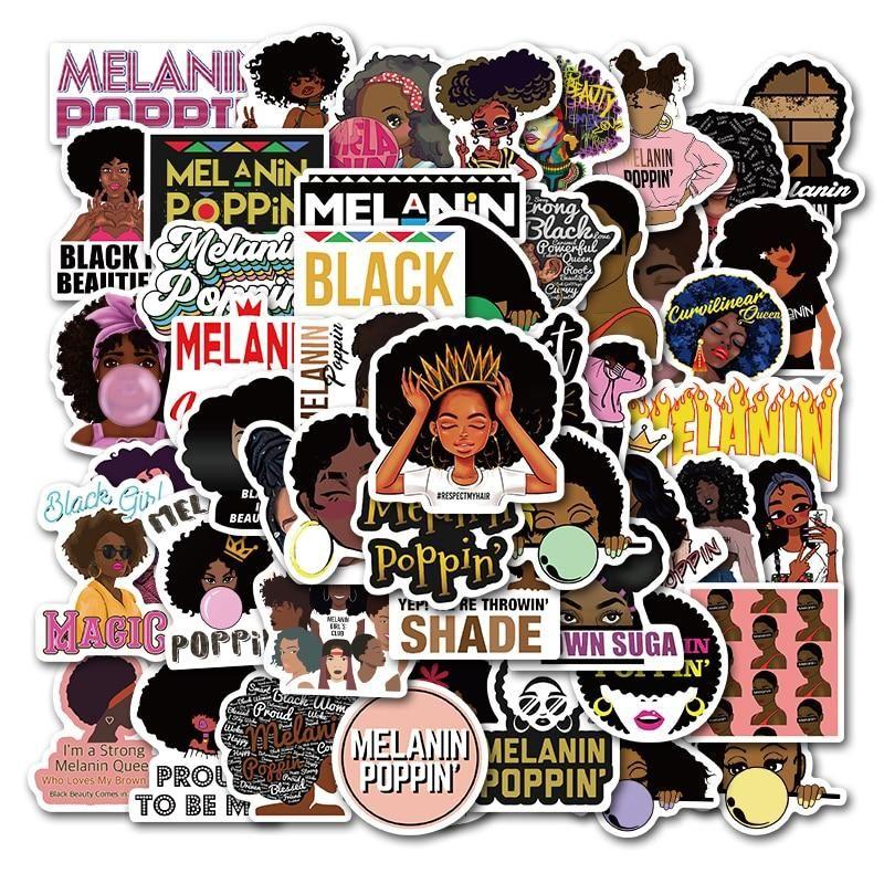 50pcs Melanin Poppin Black Girl Stickers In 2020 Girl Stickers Melanin Poppin Black Girls Melanin