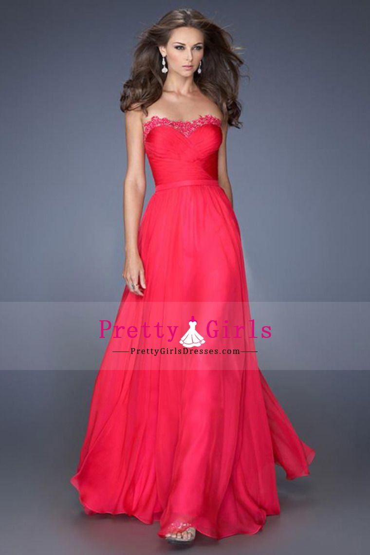 2014 Flowing Sweetheart Floor Length Chiffon prom dresses With Applique and ruffles USD 109.99 PGDPETNJYCF - PrettyGirlsDresses.com