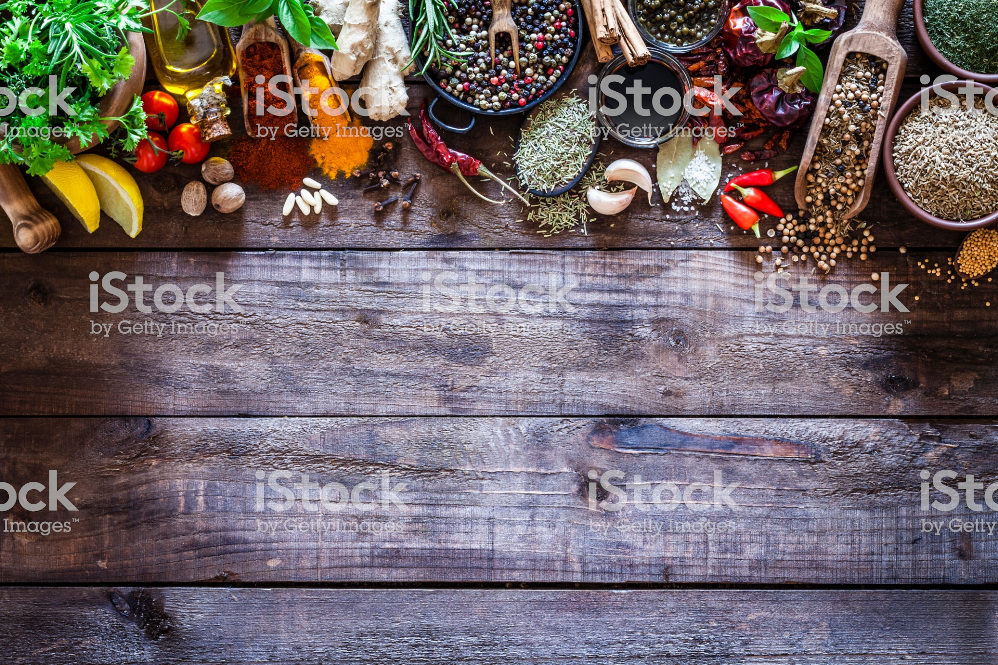 Top View Of A Rustic Wood Kitchen Table With A Large Group Of