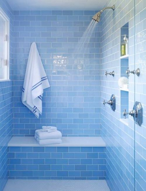 Sky Blue Glass Tile In Shower Watery Blue Tile Bathroom