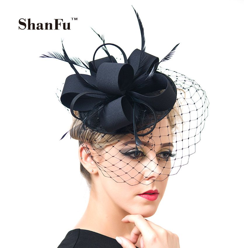 6bc591fb49 ShanFu Women Fancy Feather Fascinator Hats Black Birdcage Veil Wedding Hats  and Fascinators White Net Hair Accessories SFC12517 Gredit guarantee .