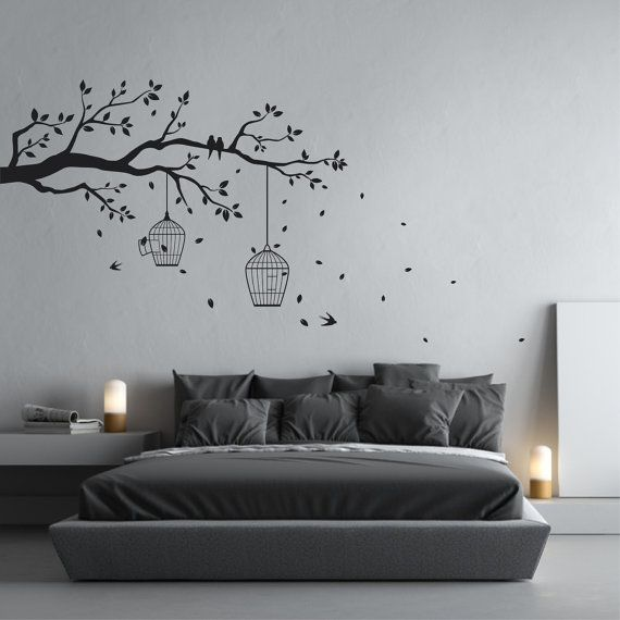 Tree Branch Wall Art removable tree branch wall sticker with falling leaves, bird cages
