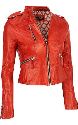 Black rivet leather jacket red