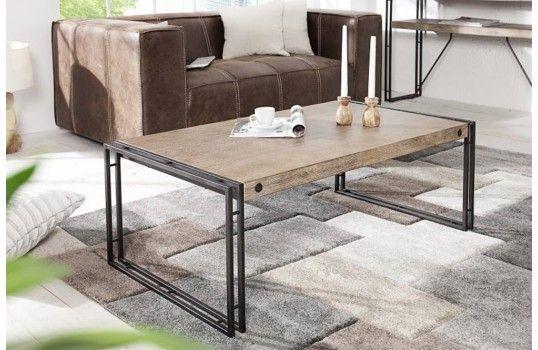 Table Basse Industrielle 110 Cm Factory En Bois Et Metal De Qualite Muebles Mobiliario Cosas De Casa