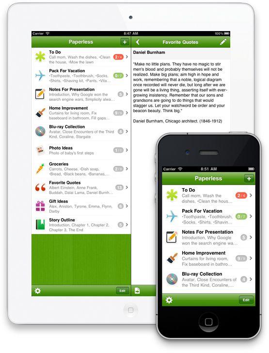 Paperless Lists + Checklists. Fantastic list making app