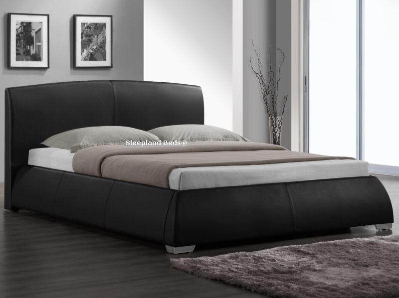 Best Sleepland Beds Napoli Black Faux Leather Bed Frame 5Ft 400 x 300