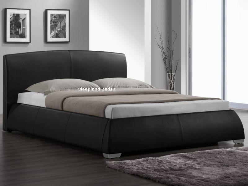 Best Sleepland Beds Napoli Black Faux Leather Bed Frame 5Ft 640 x 480