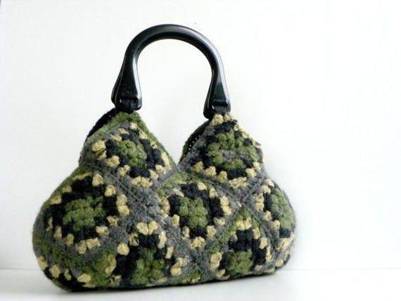 FREE EXPRESS SHIPPING, Handmade crochet granny square felted handbag, fashion handbag, women handbag, gift idea, crochet bag, bag, handbag