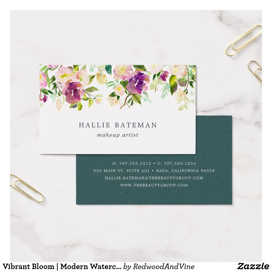 Vibrant Bloom | Modern Watercolor Floral Business Card | Chic ...