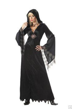 gothic spider witch long black robe womens halloween costume - Spider Witch Halloween Costume