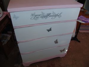Steps of what I did to this ugly dresser to make it pretty!