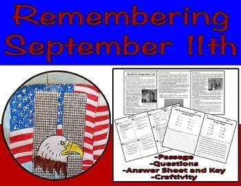 An informational text passage that will teach students everything they need to know about September 11th and its aftermath. Students will follow the reading with a multiple choice and short answer reading comprehension assessment. The short answer response is recorded inside the patriotic medallion that is included. Finally, the students get to color their medallions that will serve as a great classroom display.