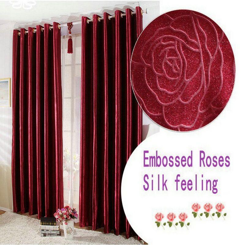 Geprägte Rosen\/kurze\/lange Vorhänge Für wohnzimmer\/Schlafzimmer - gardine f r schlafzimmer