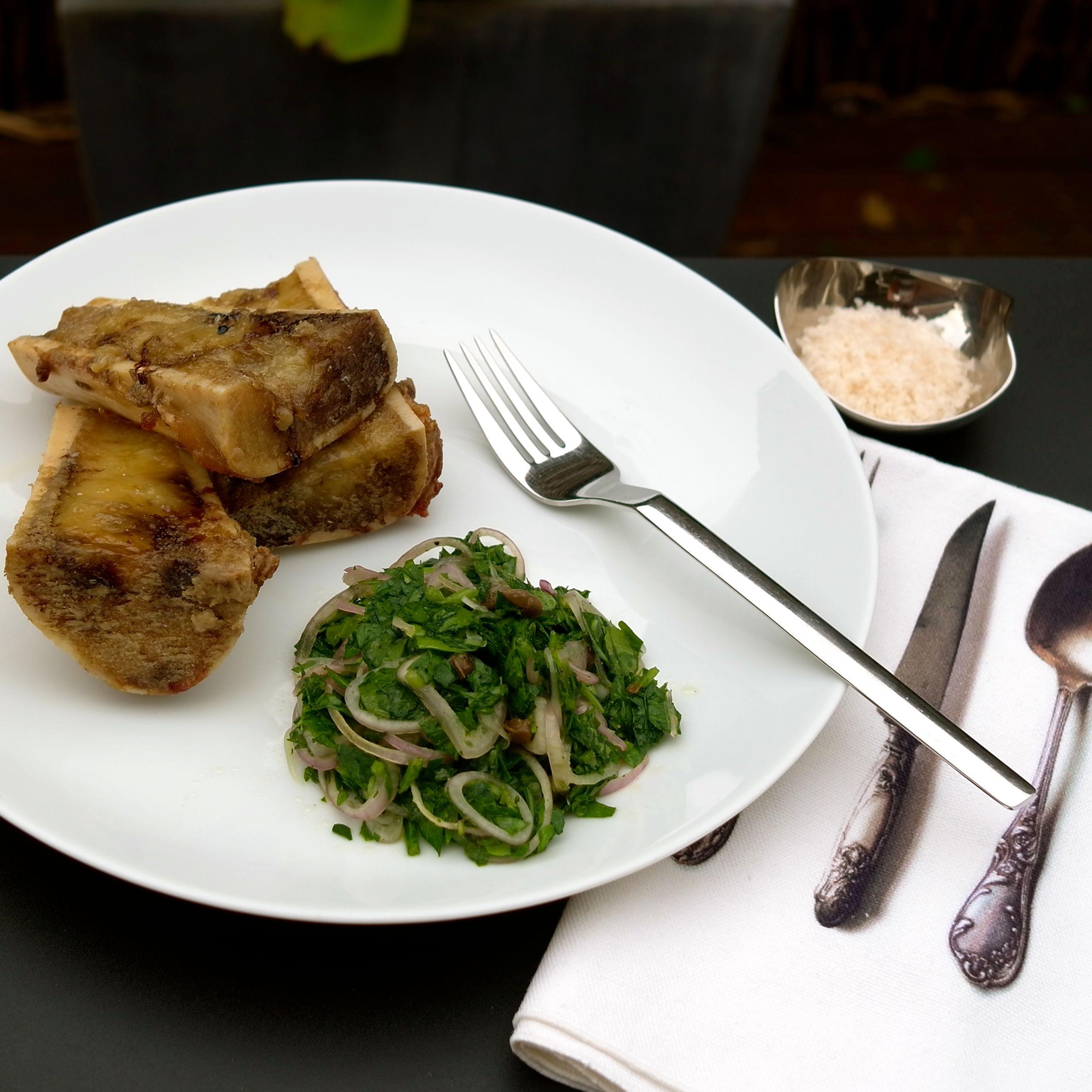 Roasted Bone Marrow with a Side of Parsley Salad