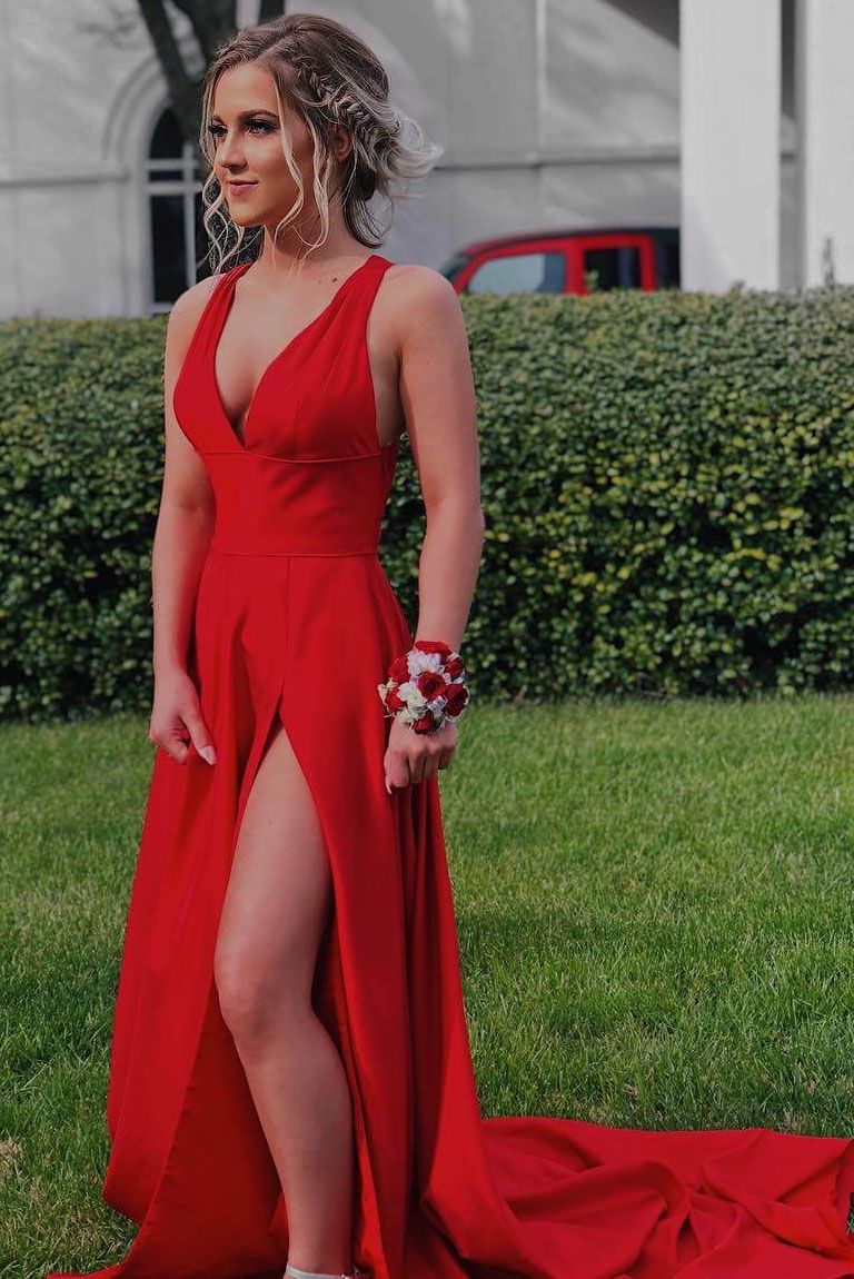 Sexy v neck red long formal evening dress with side slit prom