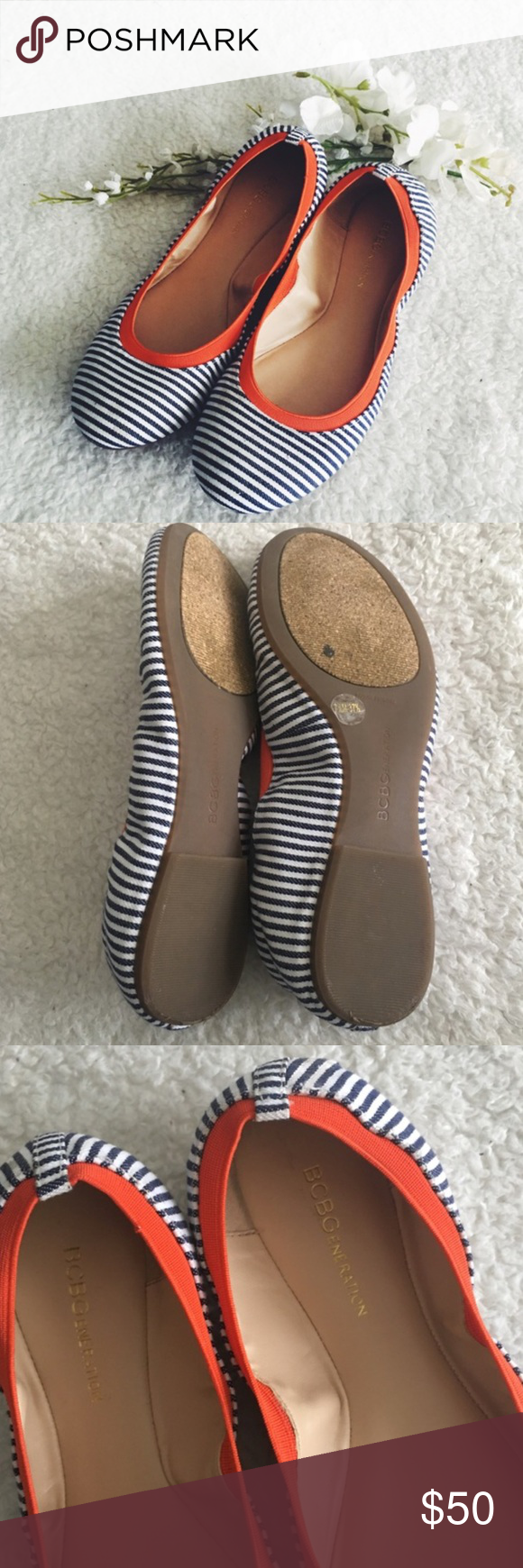 ❗️LAST CHANCE❗️BCBGeneration Striped Flats * In excellent used condition * Molds nicely to the feet * Minimal wear on outsoles  * Only imperfection is a small stain near the toe, it's pretty unnoticeable (pictured in last photo) * No trades, please 1016sw BCBGeneration Shoes Flats & Loafers