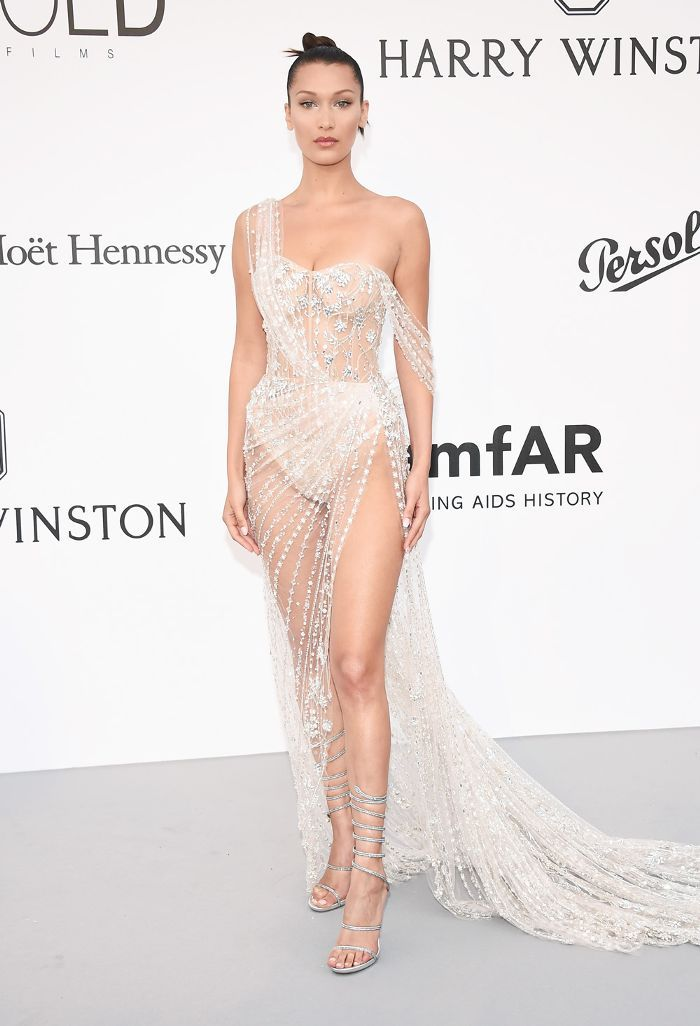 7d2b18d8c8a Bella Hadid Just Wore a Completely See-Through Gown on the Red ...