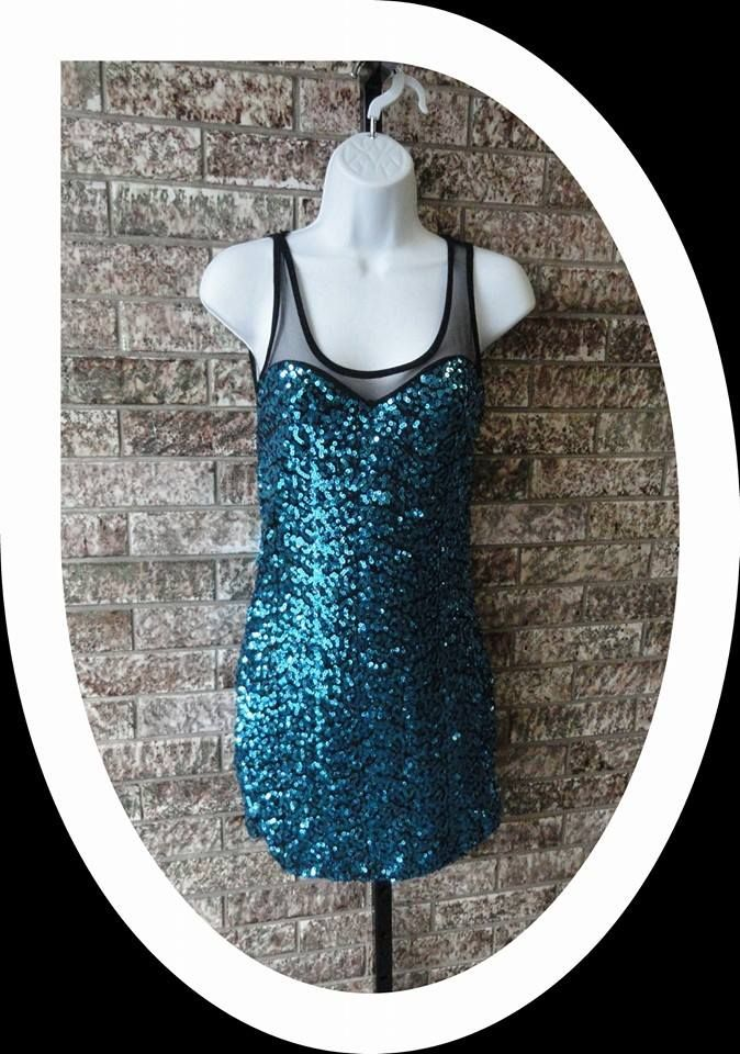 Blue Sequined Tank Dress with Black Mesh Back