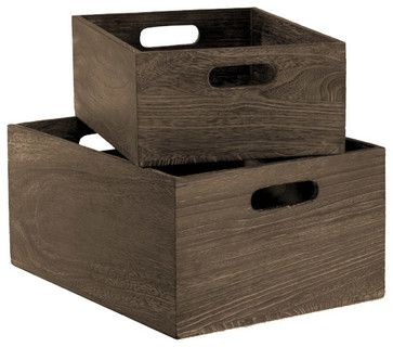 Feathergrain Wood Bins   Modern   Storage And Organization   The Container  Store