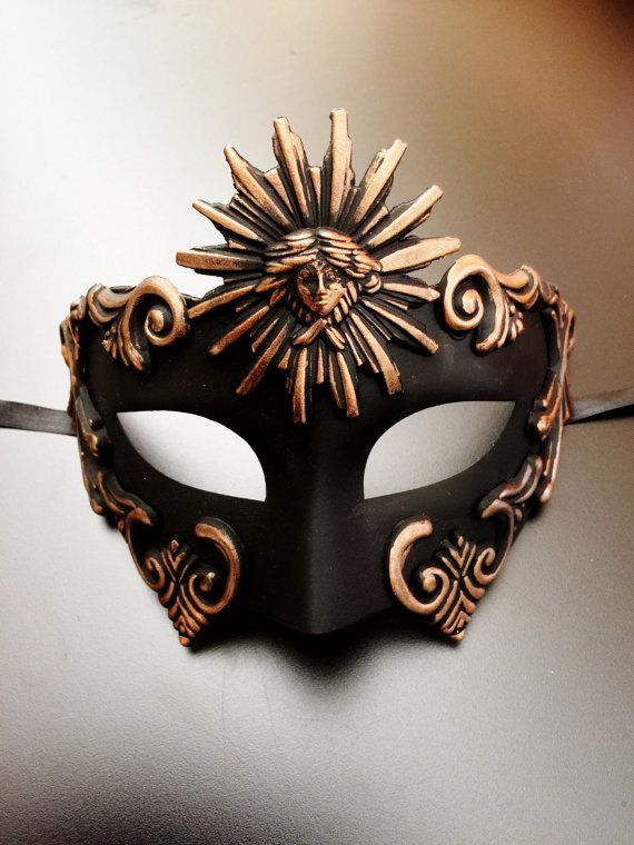 Roman Sun Warrior Venetian Masquerade Mask for Men Antique Gold