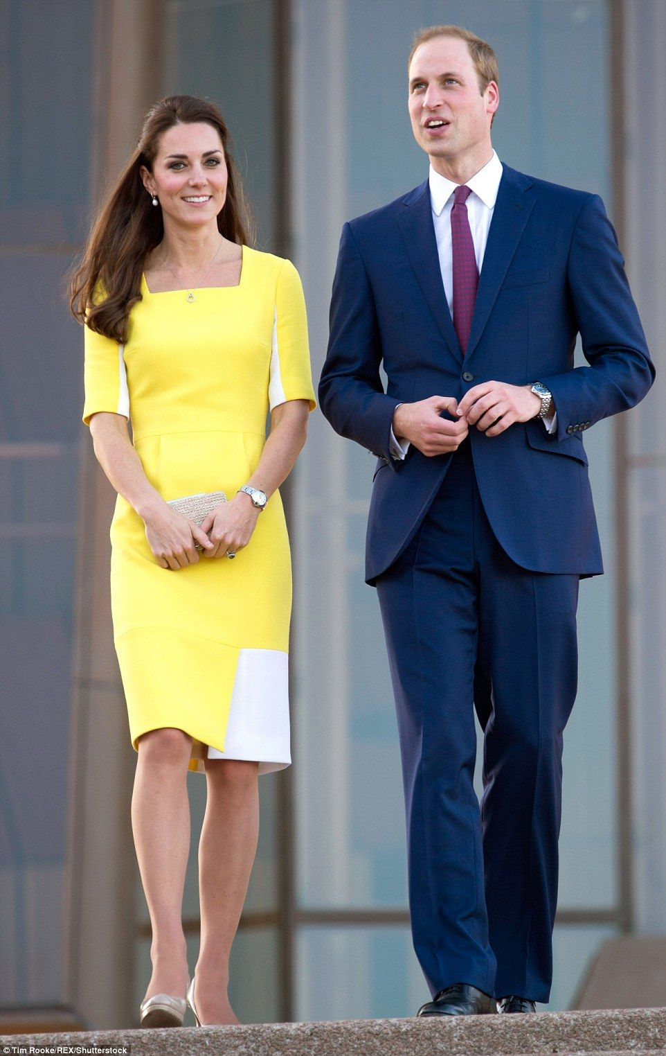 Kate first wore the colour block dress on a visit to Sydney Opera House with Prince William during the couple's tour of Australia in 2014