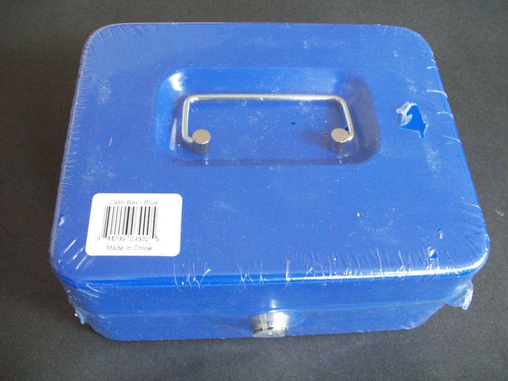 """Blue Metal Key Lock Petty Cash Box 8"""" x 6.25"""" x 3.5"""" New"""