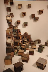 birdhouses art installation