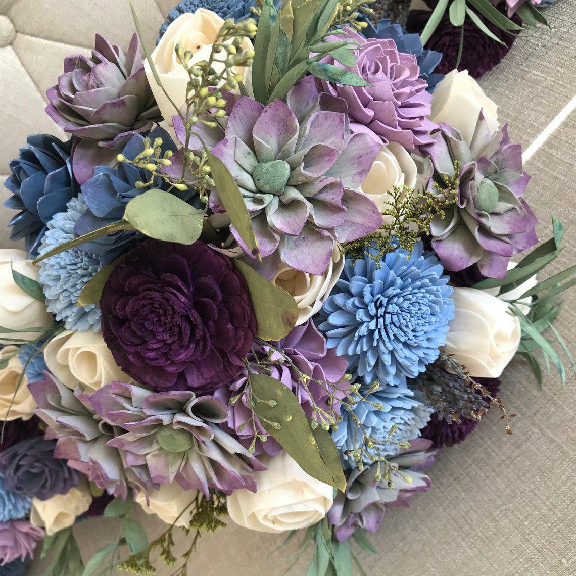 Fairytale Succulent Bouquet Wooden Flowers Purple