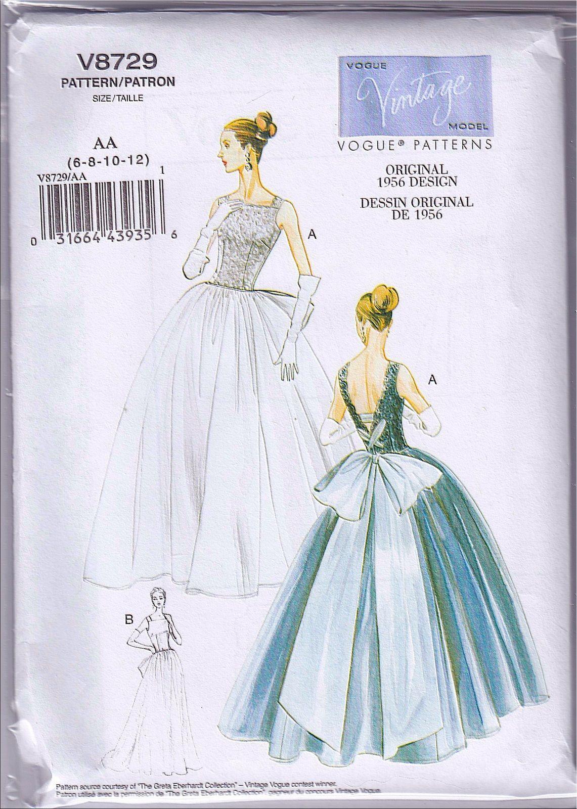 Vogue V8729 6-12 Sewing Pattern Vintage 1956 Wedding Gown or Dancing ...