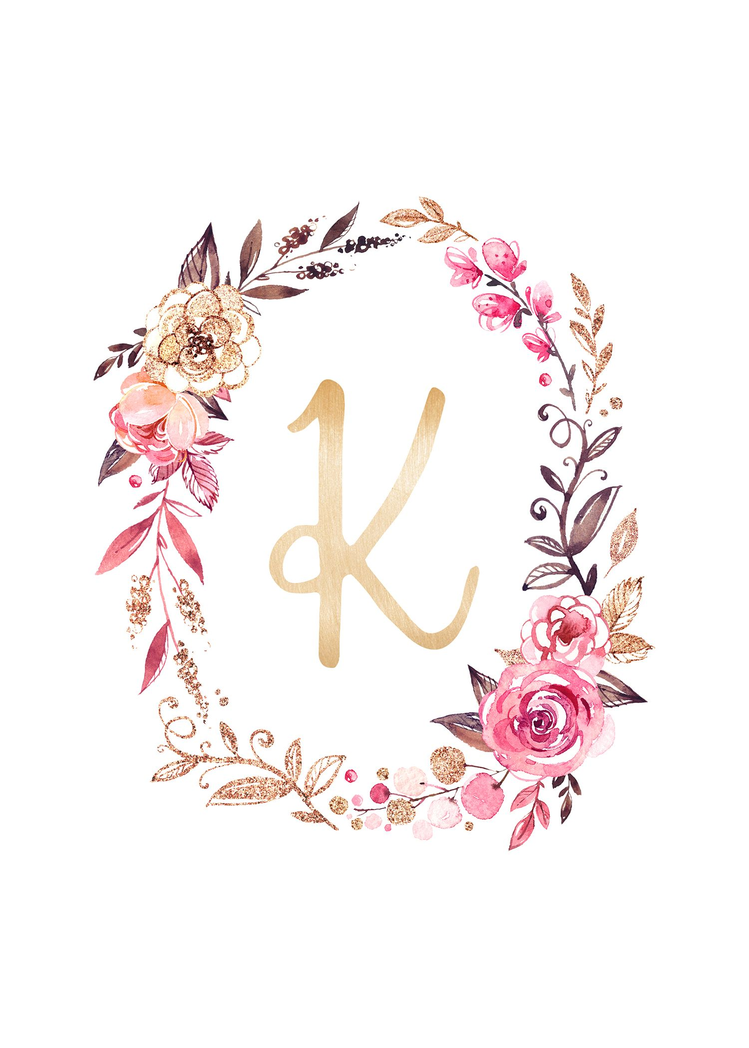 Free Glitter And Glam Monogram Printables The Cottage Market Monogram Wallpaper Floral Letters Alphabet Wallpaper