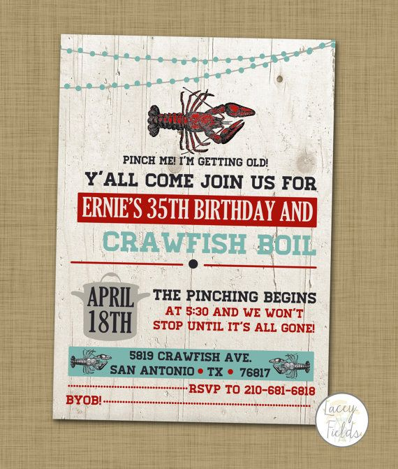 graphic relating to Crawfish Boil Invitations Free Printable called Crawfish boil birthday celebration invitation printable via
