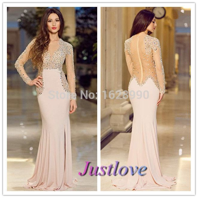 Find More Prom Dresses Information about Vestidos De Festa Vestido Longo Chiffon See Through Beaded Back Long Sleeves Prom Dress 2014 Floor Length Sheath Evening Dresses,High Quality dress stole,China dresses topshop Suppliers, Cheap dress girly from Justlove international wedding dress Ltd. on Aliexpress.com