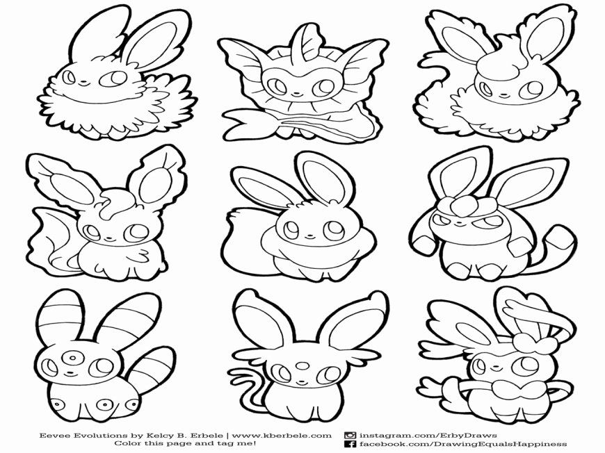 24 Eevee Evolutions Coloring Page in 2020 Pokemon