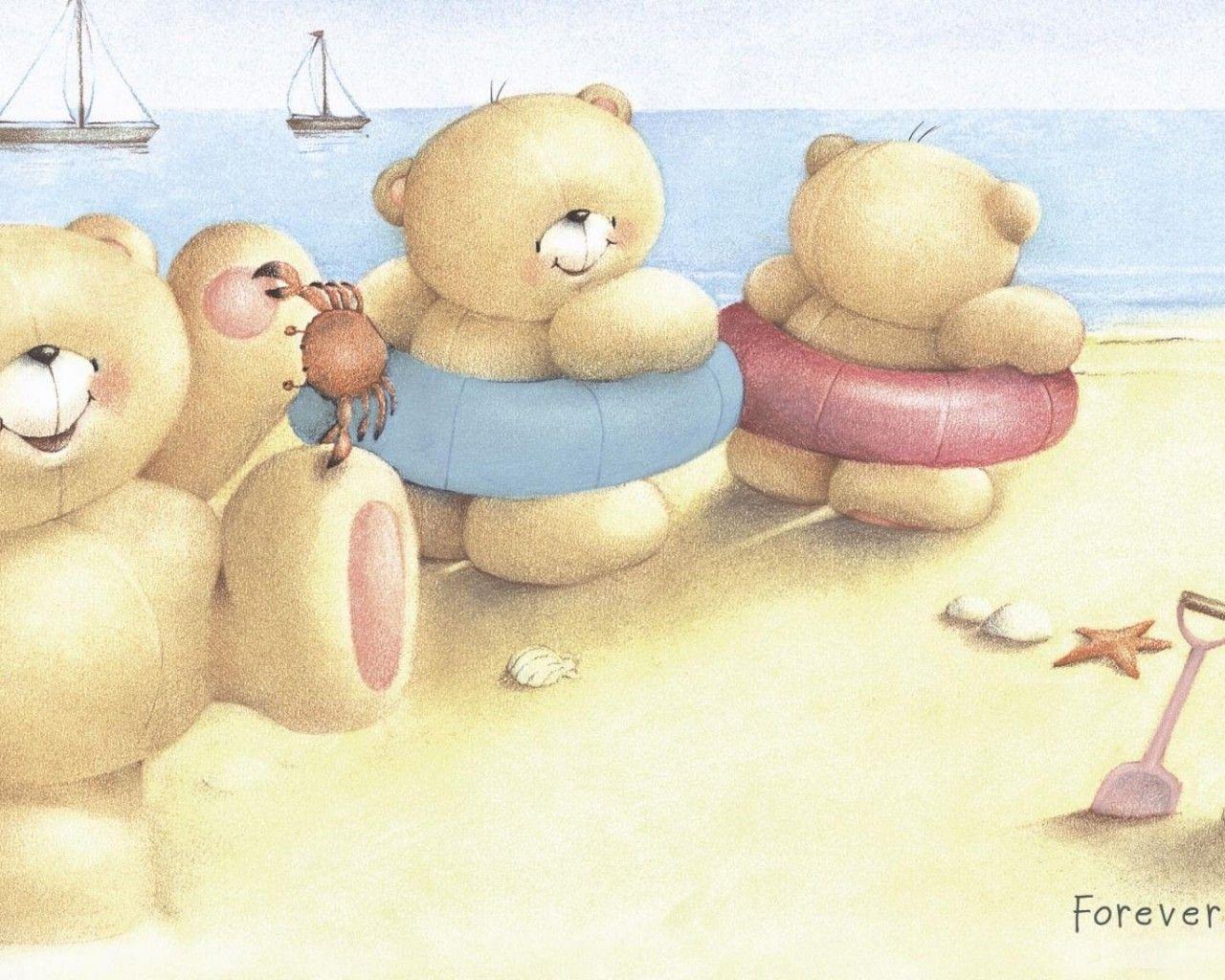 Download Wallpaper Forever Friends Deckchair Bear Teddy Bear