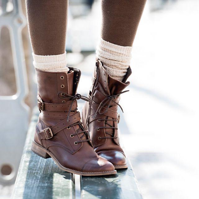 En Bottines À Brides DoubléesShoes Non Cuir Plates WrxedBCQo