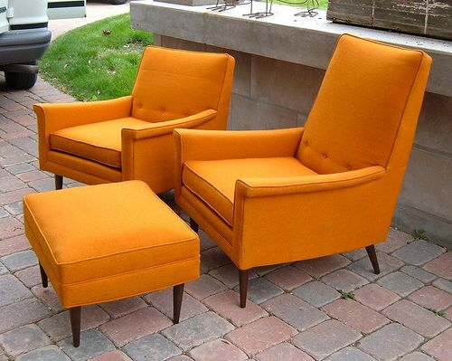 Awesome Orange Vintage Kroehler Chair And Ottoman Set Decor Mid Machost Co Dining Chair Design Ideas Machostcouk
