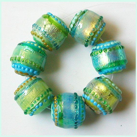 Lazy Day Mint Glimmer Strips 7 shimmery glimmery beads by zbeads