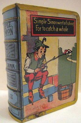 Old Tin Nursery Rhyme Book Bank Simple Simon Fishing to Catch A Whale Kirchhof